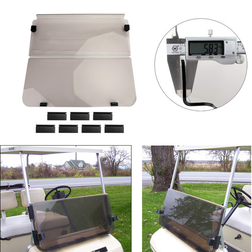 Folding Acrylic Golf Cart Windshield FOR CLUB CAR DS MODELS 82-00 Smoke