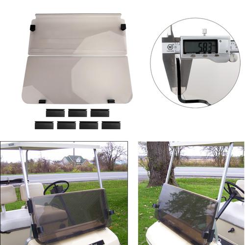 Folding Acrylic Golf Cart Windshield FOR CLUB CAR DS MODELS 82-00 Smoke