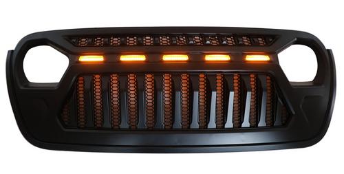 Front Bumper LED Light Grille Upper Grill For 2018-2019 Wrangler JL Black