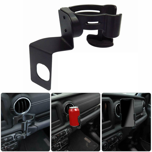 Drink Cup Phone Mount Cradle Holder Multi-Function For Wrangler JL Sport Sports Sahara Unlimited & JL Rubico 18-19 Black