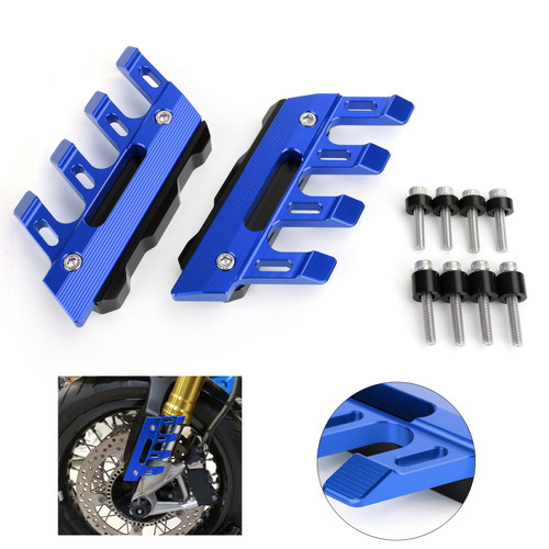 Front Fender Guard Protector Left + Right For Universal Motorcycle Blue