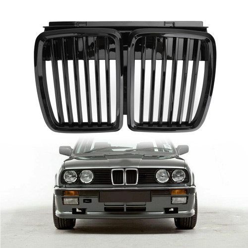 Front Grille 3 Series Front Hood Kidney Grille Grill For BMW E30 1983-1991 Gblack