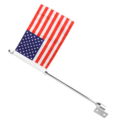 USA Flag Pole Luggage Rack Mount For Indian Chief Classic Dark Horse Chrome