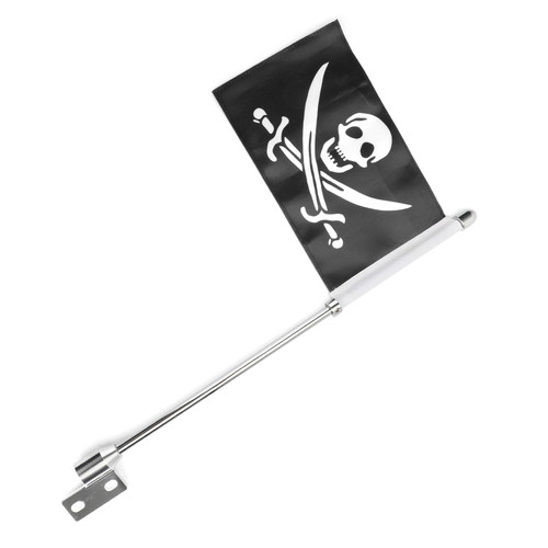 Pirate Flag Pole Rear Luggage Rack Mount For Indian Chief Dark Horse Chrome