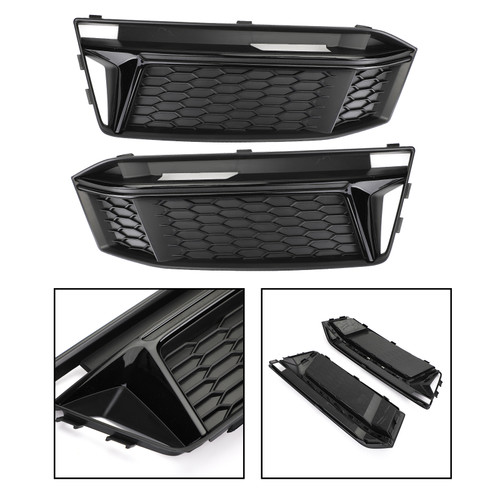 Fog Light Cover Hole Grille Grill Bezel For AUDI S4 S-Line B9 2016-2018 Black