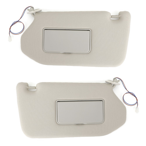 Left+Right Sun Visor Gray For Nissan 13-18 Pathfinder 14-17 Infiniti QX60 w/ Lamp
