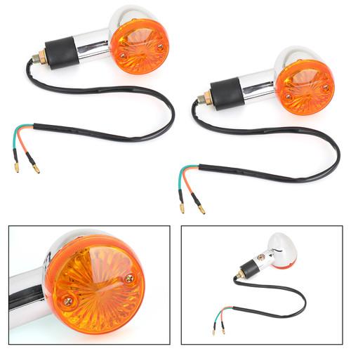 2x Amber Chrome Bullet Front Rear Turn Signal Blinker Indicator Light Motorcycle