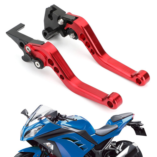 Left & Right Brake Clutch Levers For Kawasaki Ninja 250 300 Red