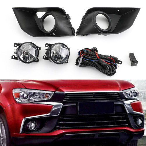Front Bumper Fog Light Kit For Mitsubishi Outlander Sport ASX RVR 2016-2018