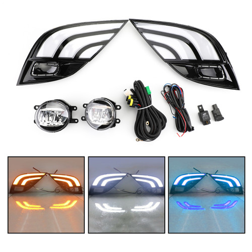 LED DRL Turn Signal Lamp Fog Light Wiring Refit For Toyota Camry SE XSE 18-19 Black