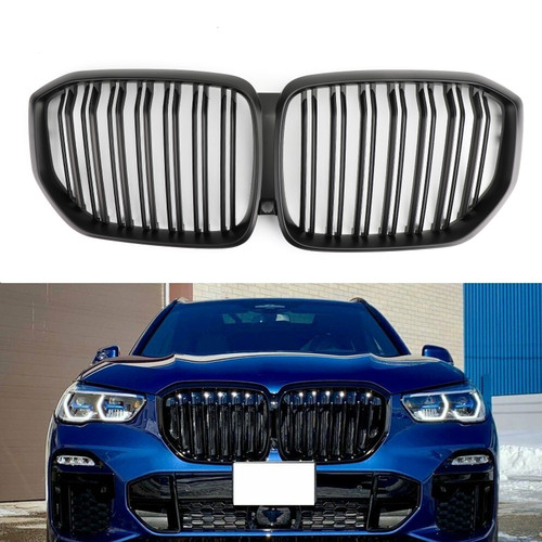 Front Kidney Grille Matte Black Grill Dual Fin For BMW X5 G05 2019+ Mblack