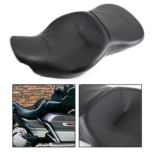 Rider and Passenger Seat for Touring and Tri Glide models. Installation on 2014-later Tri Glide models requires removal of grab rail 14-19 Black
