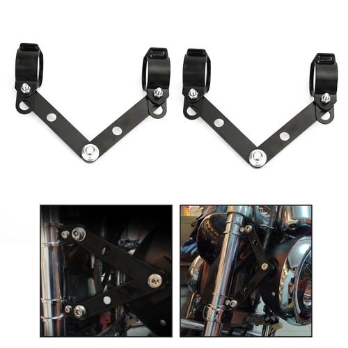 28mm-41mm Fork Headlight Mount Bracket Universal Motorcycle Head Lamp Holder Adapter Black