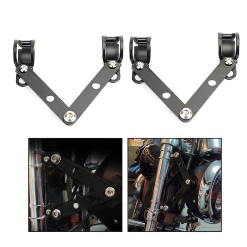41mm-51mm Fork Headlight Mount Bracket Universal Motorcycle Head Lamp Holder Adapter Black