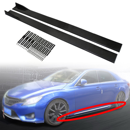"86.6"" Universal Side Skirt Extensions Rocker Panel Splitters Lip Polypropylene Gblack"