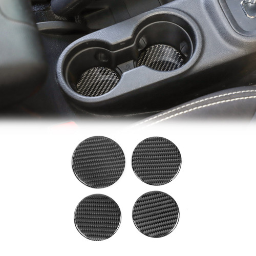 Cup Holder Mats Round Drink Pad Coaster Real Carbon Fiber for Wrangler JK 2011-2017