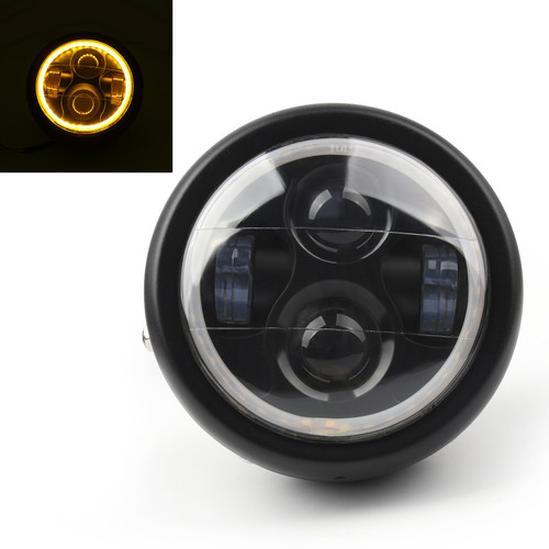 """Projector 6.5"""" LED Headlight Halo Ring For Cafe Racer Bobber Yellow"""