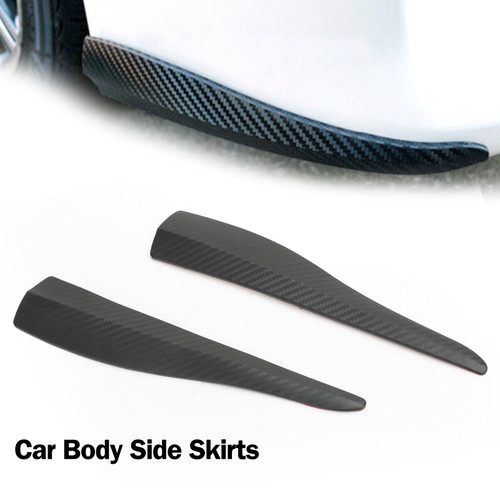 28cm 2pcs Rubber Front Rear Bumper Lip Anti-collision Strip Carbon Fiber