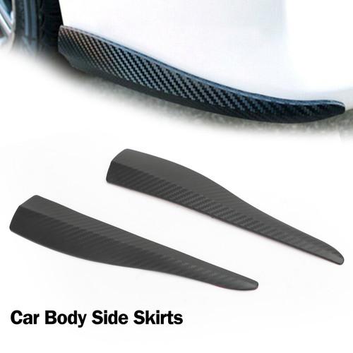 36cm 2pcs Rubber Front Rear Bumper Lip Anti-collision Strip Carbon Fiber