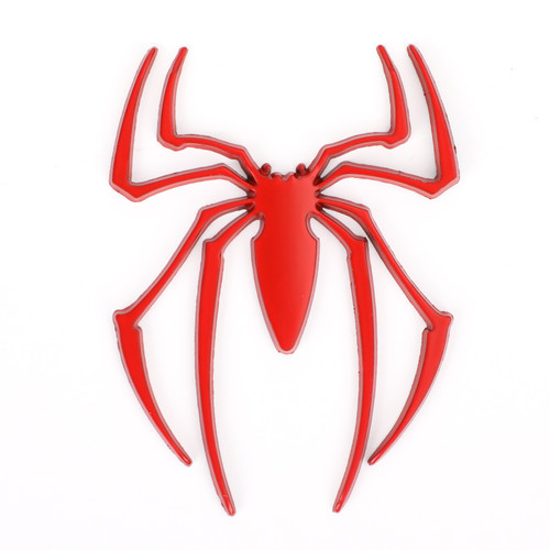 Auto Logo Car Sticker Metal Badge Emblem Spider Shape 3D Car Decal Sticker DIY Red