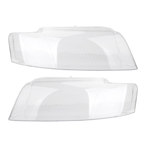 Pair Headlight Glass Headlamp Lens Cover L&R Fit For Audi A4 8E B6 2002-2004 CLE