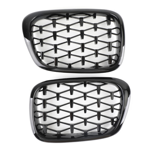 Meteor Front Kidney Grill Mesh Grille Fit For BMW E39 1995-2003 5 Series Black