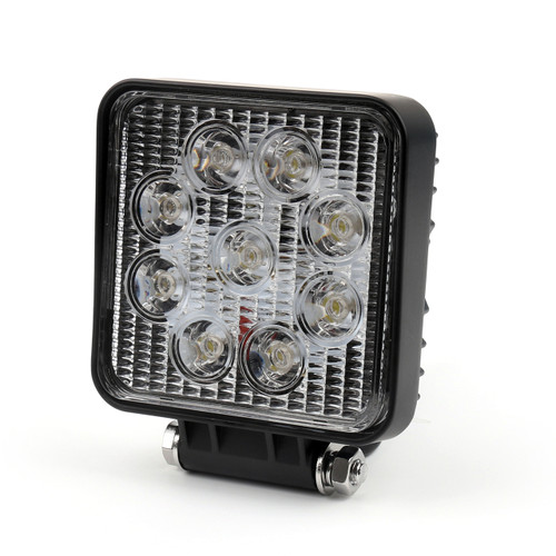 27W LED work flood square Light bar 12V 24V Off road Truck 4x4 Boat lamp, Black