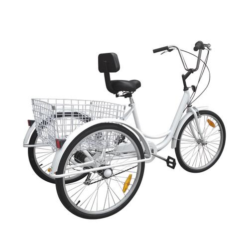 """7-Speed 24"""" Adult 3-Wheel Tricycle Cruise Bike Bicycle With Basket White"""