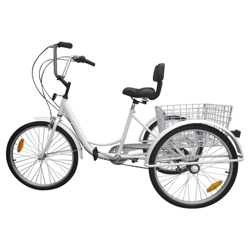 "7-Speed 24"" Adult 3-Wheel Tricycle Cruise Bike Bicycle With Basket White"