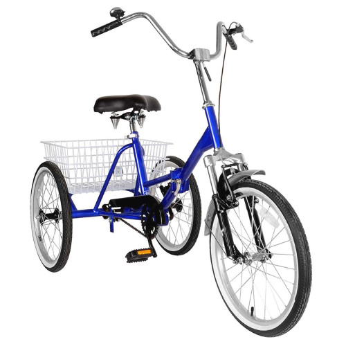 """Adult Folding Tricycle Bike 3 Wheeler Bicycle Portable Tricycle 20"""" Wheels Blue"""