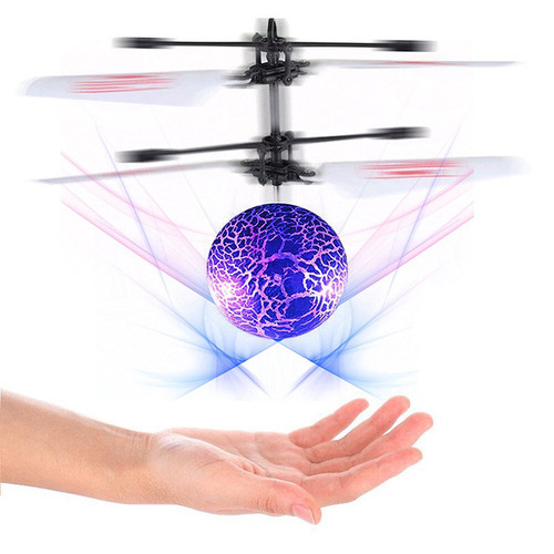 RC LED Cracked Crystal Flying Ball Induction Helicopter Infrared Sensor Toy