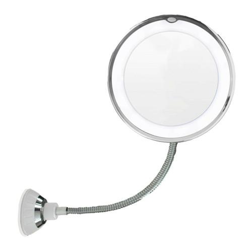 "10X Flexible Gooseneck Makeup Mirror with LED Light Bathroom Suction Cup 7"""