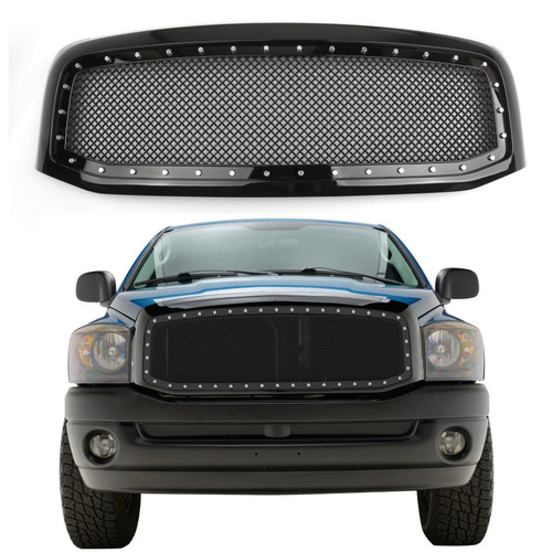 Front Mesh Rivet Style Hood Grille With Shell Fit For Dodge Ram 1500/2500/3500 2006-2008 Models Black