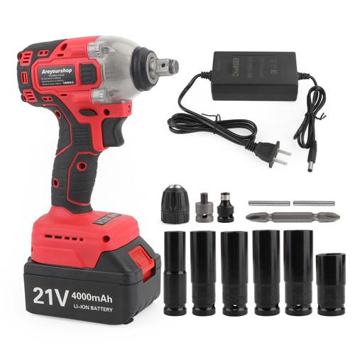 "1/2"" 21V Brushless Impact Wrench Torque Rattle Gun Electric Rachet W/Battery"