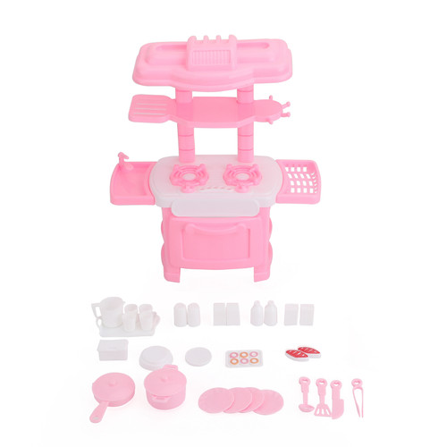 Plastic Kitchen Toy Kids Cooking Pretend Play Set Toddler Playset Toy Gift Pink