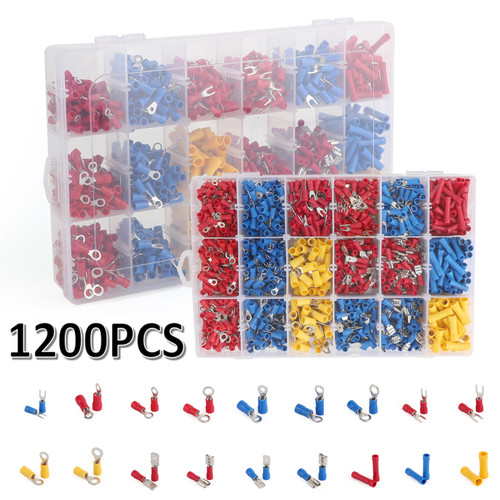 1200x Insulated Assorted Electrical Wiring Butt Connectors Crimp Terminals Kits