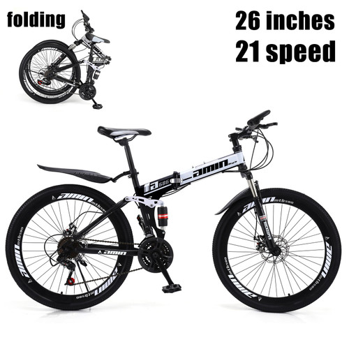 26 Inch 21 Speed Folding Mountain Bike for Sale Full Suspension Speed MTB Bicycle Color A