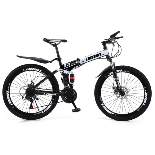 """Unisex Adult Mountain Bike Full Suspension 26"""" 21 Speed MTB Folding Bicycle Color A"""