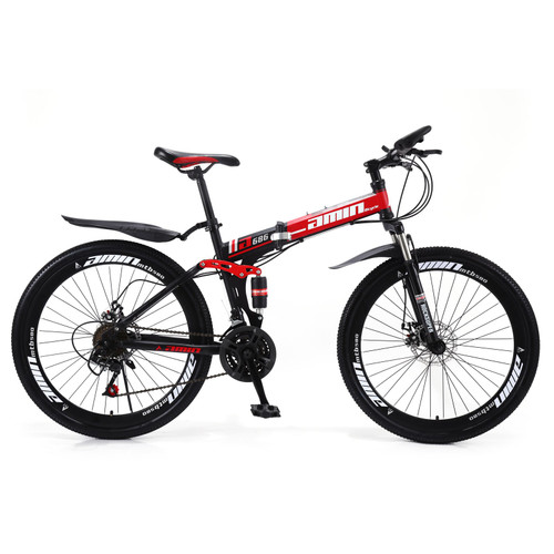 """Unisex Adult Mountain Bike Full Suspension 26"""" 21 Speed MTB Folding Bicycle Color B"""