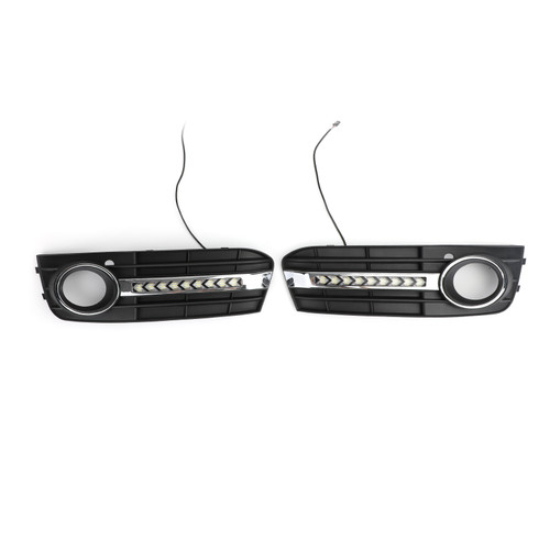 2X Flowing LED Fog Light Grille Cover Fit For Audi A4 B8 2009-2011
