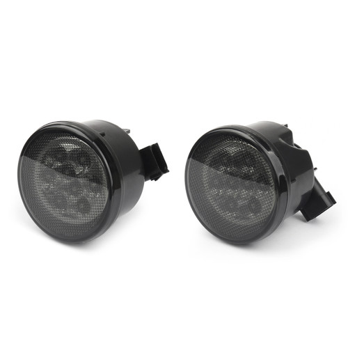 Pair LED Turn Signal W/ Fender Side Light Smoke Lens For (07-17) Wrangler