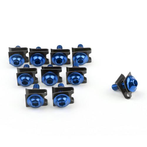 10 x Fairing Bolts M6 6mm Aluminium Spire Speed Fastener Clips Spring Nuts, Blue