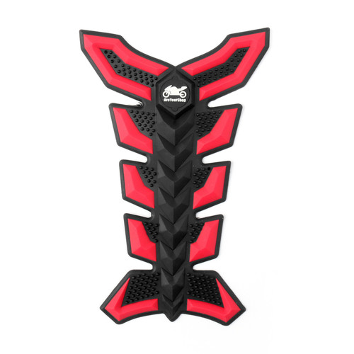 Motorbike Rubber Tank Pad Protector Motorcycle Scratch Pad Universal Spine Sticker B1 RED