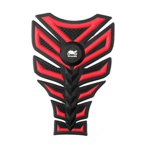 Motorbike Rubber Tank Pad Protector Motorcycle Scratch Pad Universal Spine Sticker B4 RED