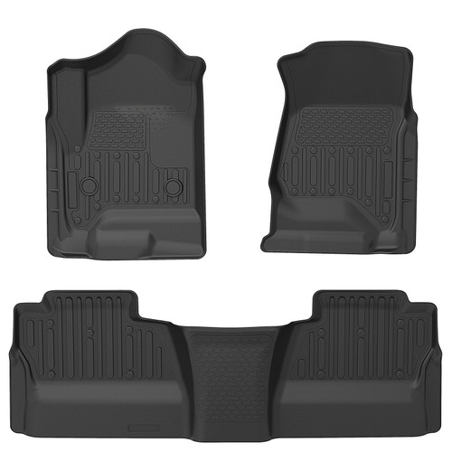 Floor Mats Liners TPE fit for 2014-19 Chevy Silverado Crew Cab All-Weather