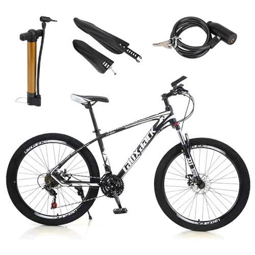 "27.5"" Wheels Adults Mountain 21 Speed Bikes Bicycle Black&White MTB+Bike Lock+Air Pump"