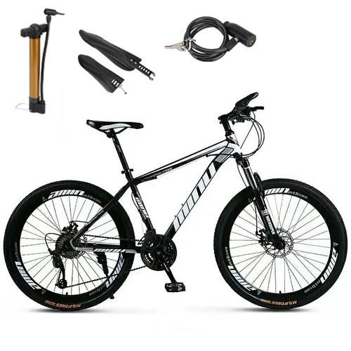 "MTB Mountain Bike 26"" Wheels 21 Speed Bicycle Disc Black Bicycles+Bike Lock+Air Pump"