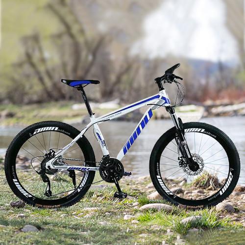 "MTB Mountain Bike 26"" Wheels 21 Speed Bicycle White&Blue Disc Bicycles+Bike Lock+Air Pump"