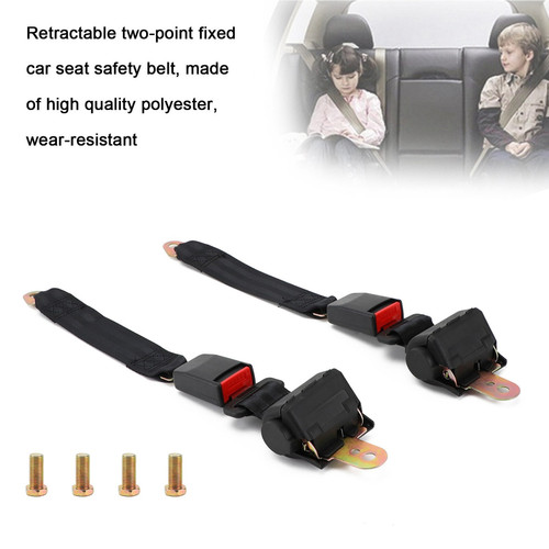 2 Sets 2 Point Retractable Auto Car Safety Seat Belt Buckle Universal Adjustable