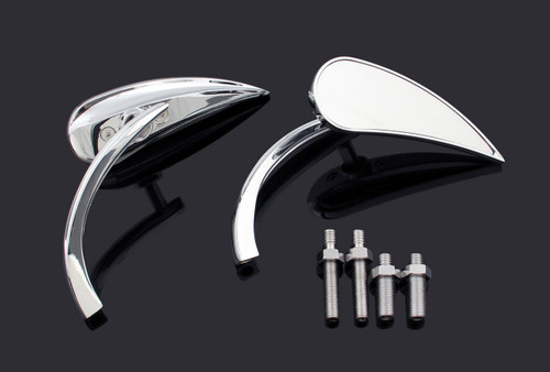 8MM 10MM Universal  Aluminum Mirrors Street, Sports, Cruiser, Chopper, Billet Wedge Chrome